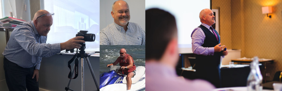A collage of pictures of Kevin Maddox. There is one to the left of him behind a camera which sat on a tripod. There is Kevin's staff photo, and blow that is a picture of Kevin sitting on top of a Jet Ski in a life jacket. To the right is a final picture of him presenting at the front of a room.