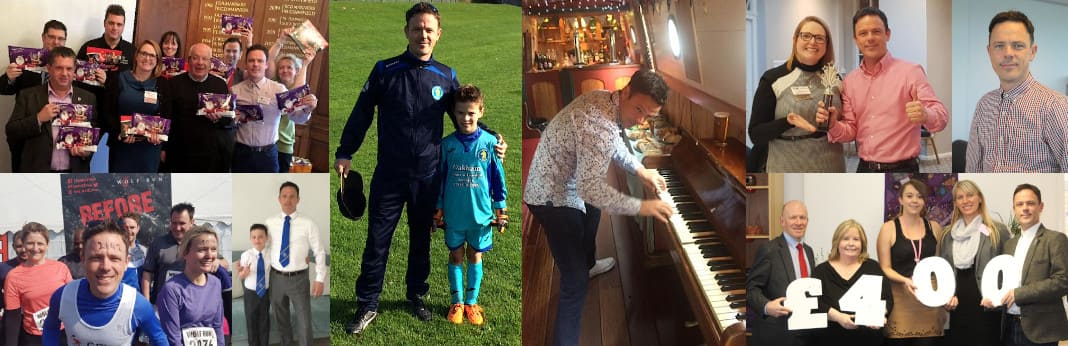 A collection of photos of Mat McsSwiggan at work, at BNI and on the the football pitch with his son.