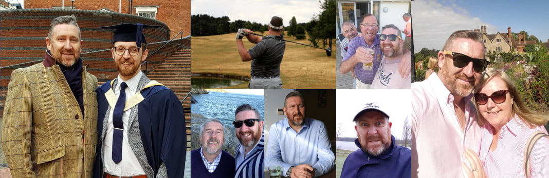A collection of photos of Paul Knight at work and on the Golf Course.