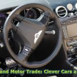 """""""Telematics and Motor Trade; Clever Cars and Business"""" written over the top of a photograph of the steering wheel of a Bentley."""