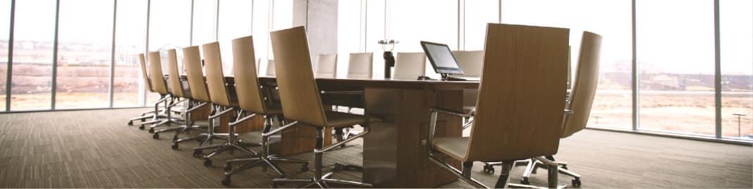 An empty board room.